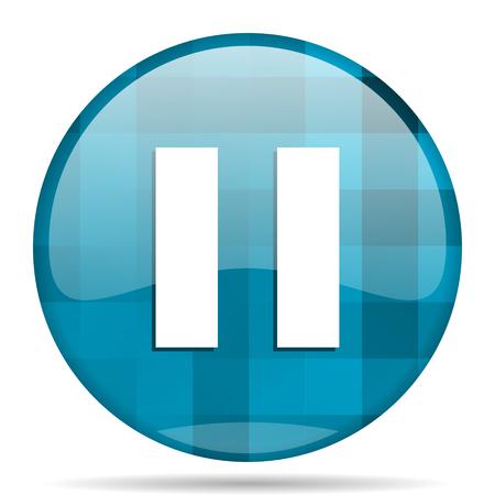 pause blue round modern design internet icon on white background Stock Photo
