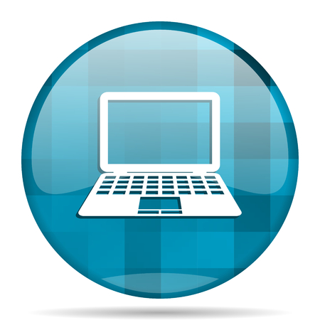 computer blue round modern design internet icon on white background