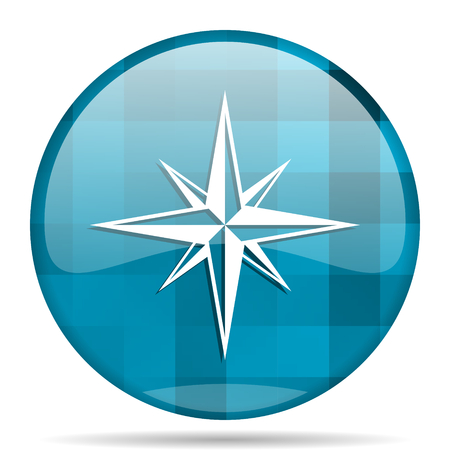 geodesy: compass blue round modern design internet icon on white background