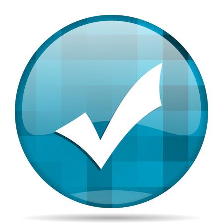 accept blue round modern design internet icon on white background