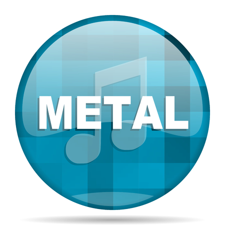 metal music blue round modern design internet icon on white background Stock Photo