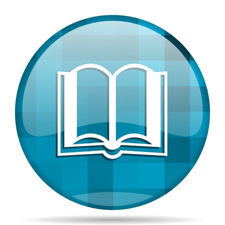 guestbook: book blue round modern design internet icon on white background Stock Photo