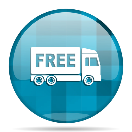 deliverance: free delivery blue round modern design internet icon on white background