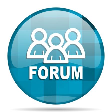 forum blue round modern design internet icon on white background Stock Photo