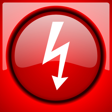 high voltage: bolt red icon plastic glossy button