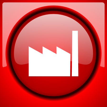 factory red icon plastic glossy button Stock Photo