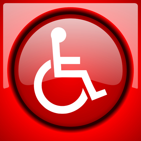 wheelchair red icon plastic glossy button Stock Photo