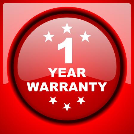 1 year warranty: warranty guarantee 1 year red icon plastic glossy button
