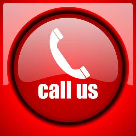 call us: call us red icon plastic glossy button Stock Photo