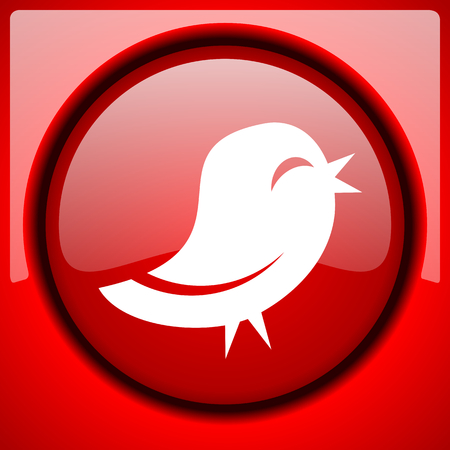 bird red icon plastic glossy button Stock Photo