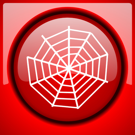 spider web: spider web red icon plastic glossy button Stock Photo