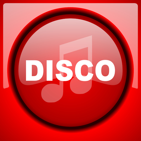 disco music red icon plastic glossy button