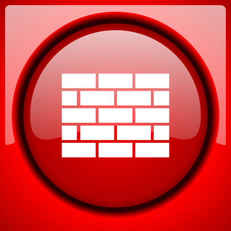 firewall red icon plastic glossy button Stock Photo