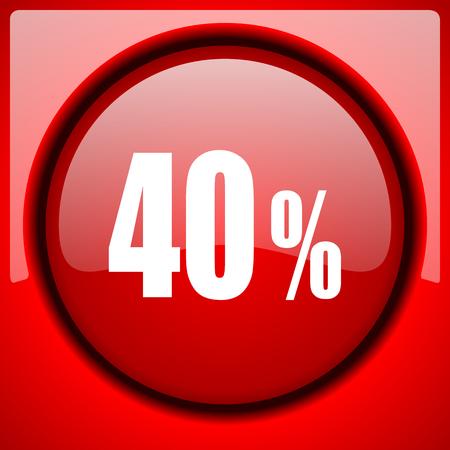 40 percent red icon plastic glossy button Stock Photo