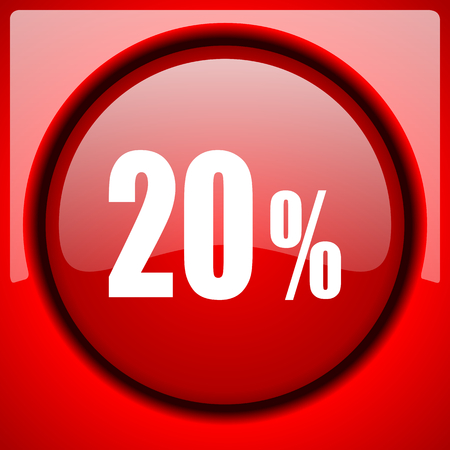 20 percent red icon plastic glossy button