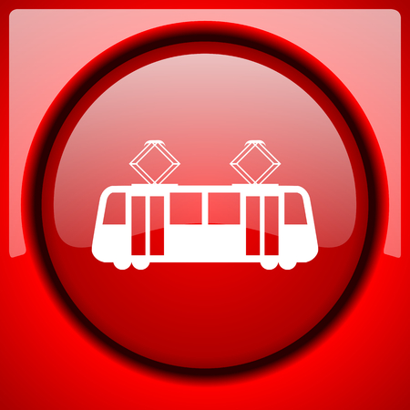 tram red icon plastic glossy button