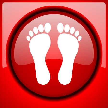 foot red icon plastic glossy button Stock Photo