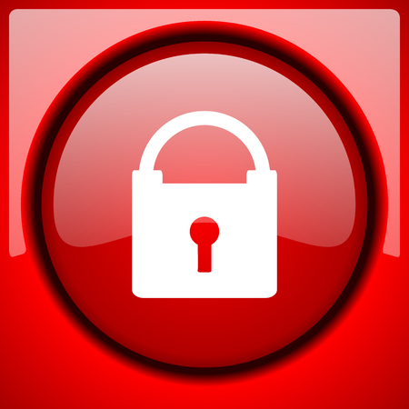 padlock red icon plastic glossy button