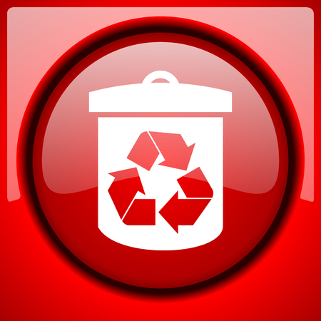 recycle red icon plastic glossy button Stock Photo
