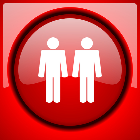 gay men: couple red icon plastic glossy button Stock Photo