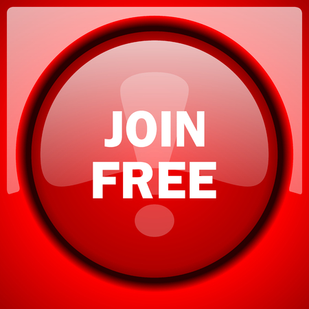 join free red icon plastic glossy button Stock Photo