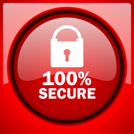 trusty: secure red icon plastic glossy button