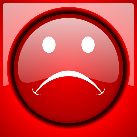 cry red icon plastic glossy button Stock Photo