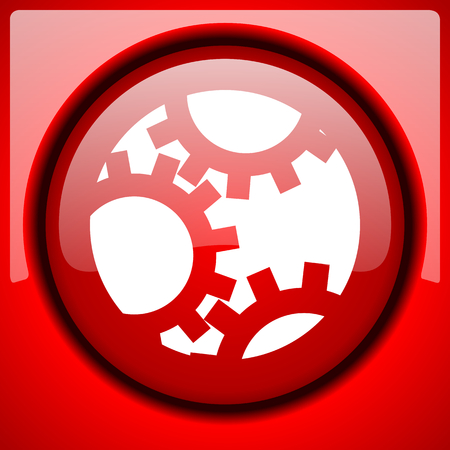 gear red icon plastic glossy button Stock Photo