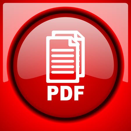 pdf red icon plastic glossy button,