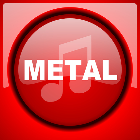 metal music red icon plastic glossy button Stock Photo