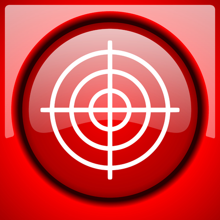 target red icon plastic glossy button Stock Photo
