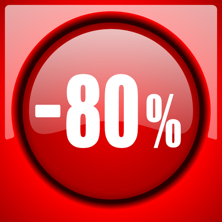 80 percent sale retail red icon plastic glossy button
