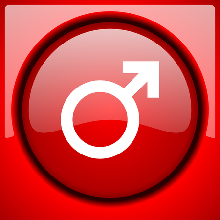 male red icon plastic glossy button