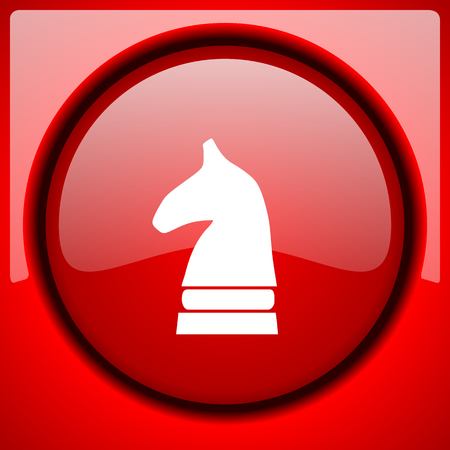 chess horse: chess horse red icon plastic glossy button Stock Photo
