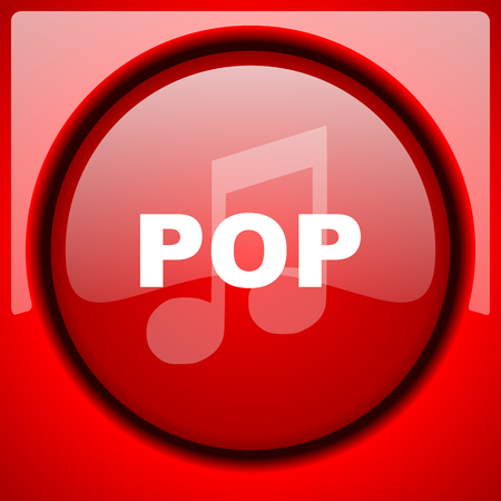 pop music: pop music red icon plastic glossy button