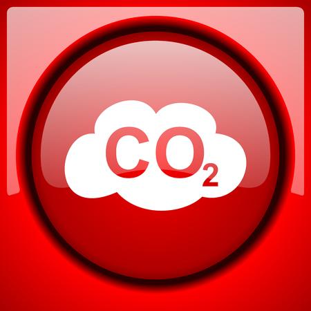 dioxido de carbono: el dióxido de carbono brillante botón rojo de plástico