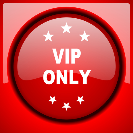 members only: vip only red icon plastic glossy button Stock Photo
