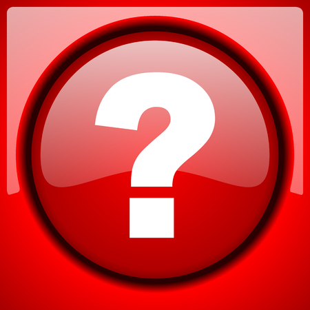 question mark red icon plastic glossy button