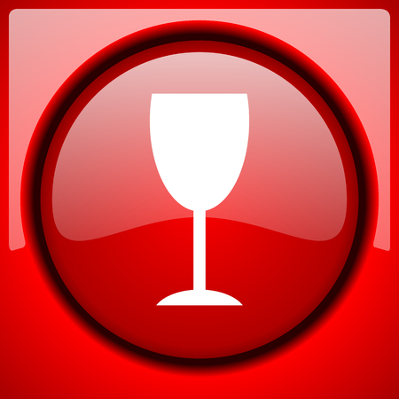 alcohol  red icon plastic glossy button