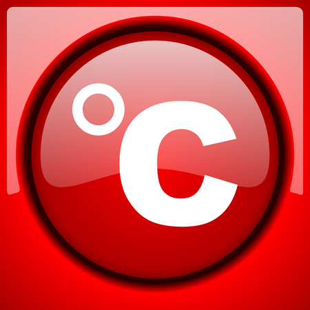 celsius red icon plastic glossy button Stock Photo