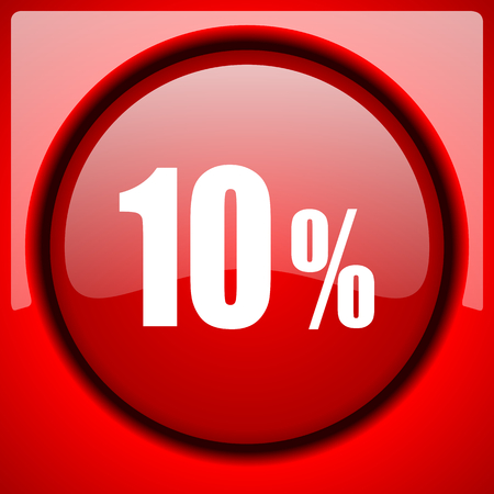 10 percent red icon plastic glossy button
