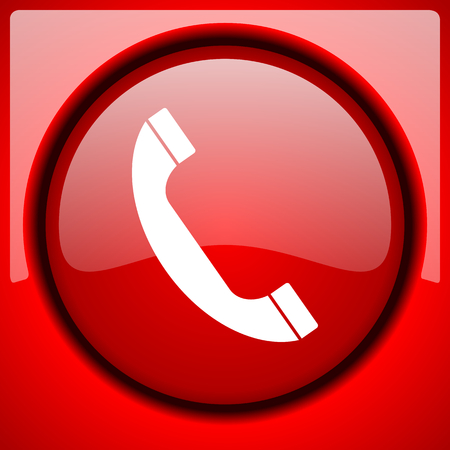 phone button: phone red icon plastic glossy button