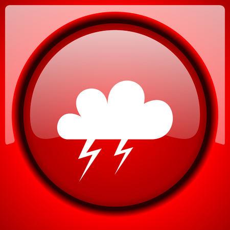 storm red icon plastic glossy button