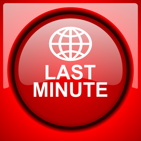 minute: last minute red icon plastic glossy button Stock Photo