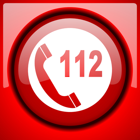 emergency call: emergency call red icon plastic glossy button