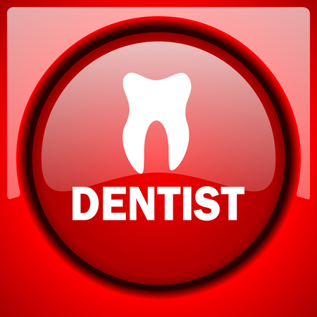 dentist red icon plastic glossy button