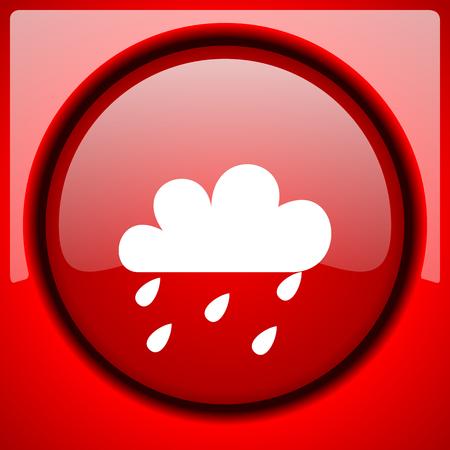 rain red icon plastic glossy button