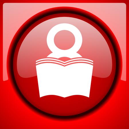 book red icon plastic glossy button