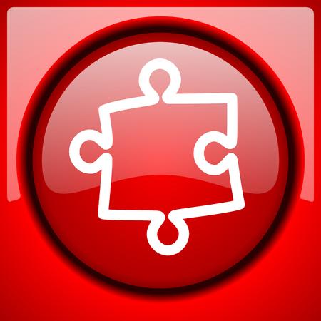 plugin: puzzle red icon plastic glossy button