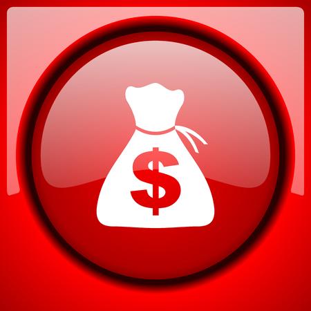 plastic money: money red icon plastic glossy button